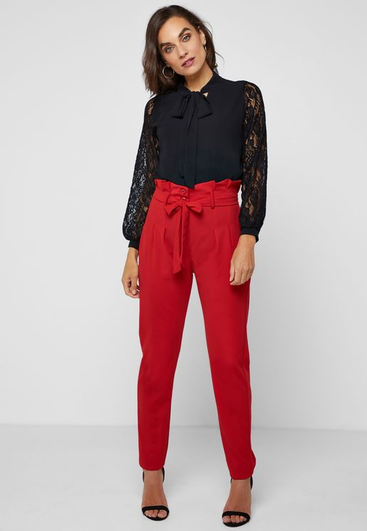 High Waisted Shirred Waist Self Tie Pants