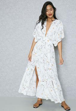 Floral Print Cape Look Maxi Dress