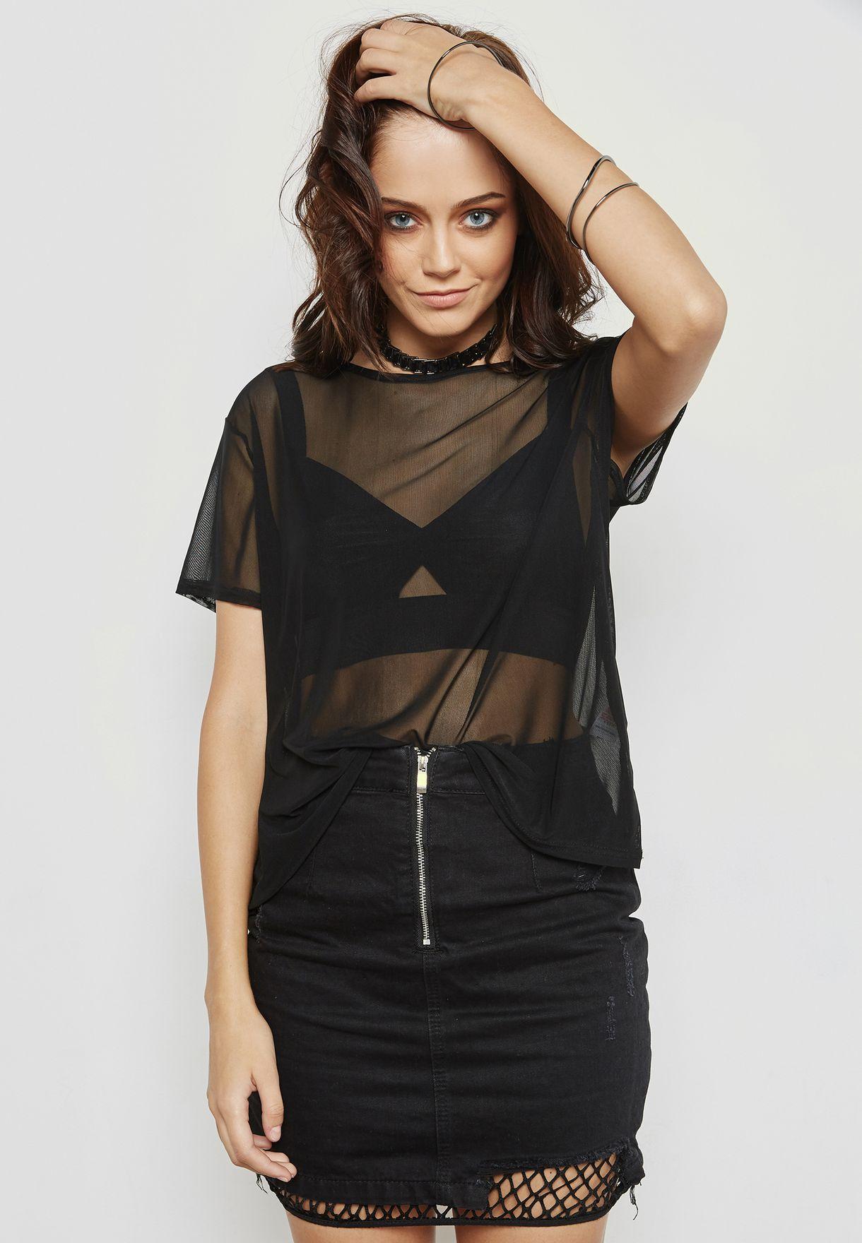 9969bf56a1 Shop Missguided black Sheer T-Shirt TJ411605 for Women in Bahrain ...