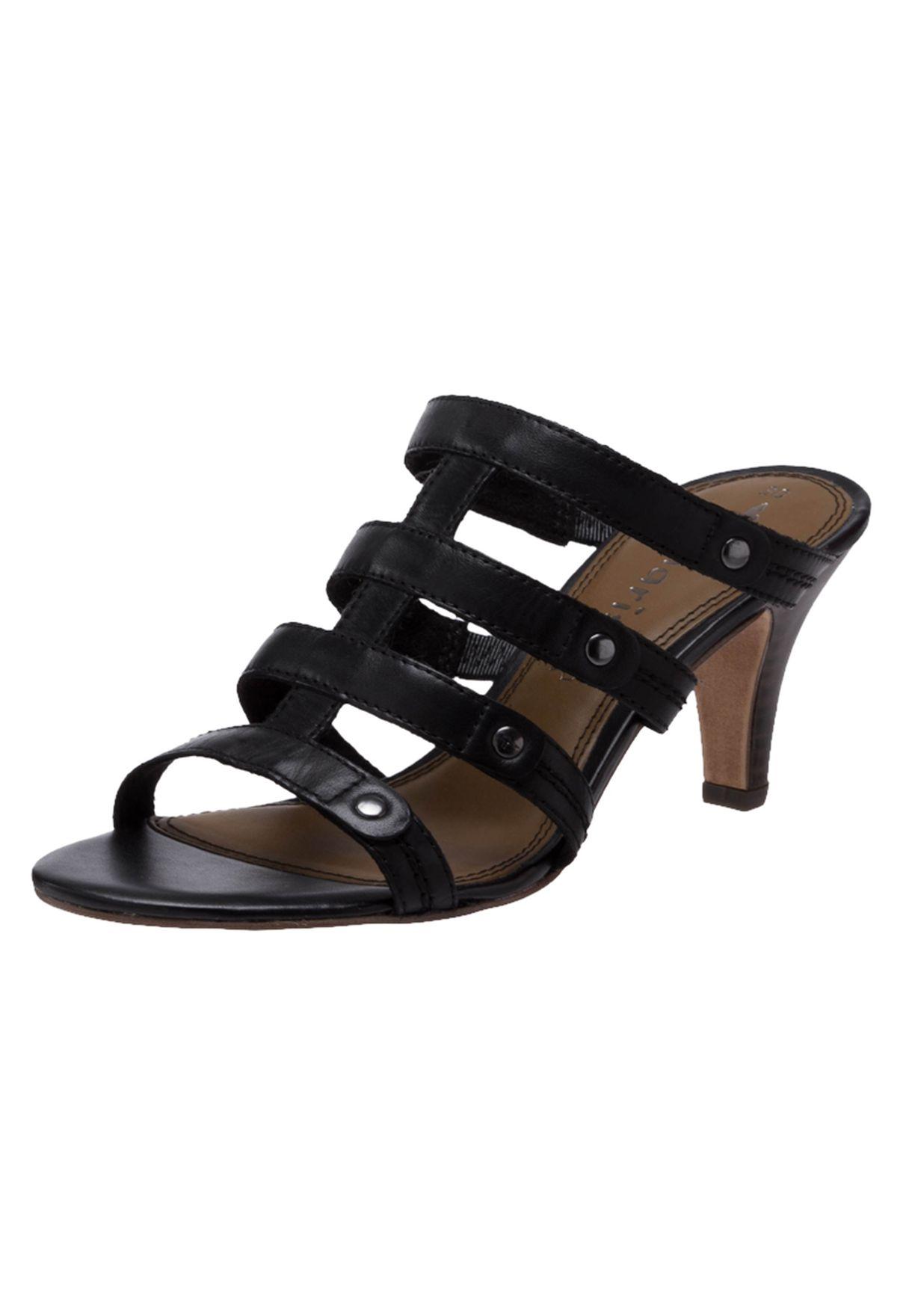 9d703cef46dc Shop Tamaris black Leather Midheel Sandals for Women in Oman - TA144SH71XHW