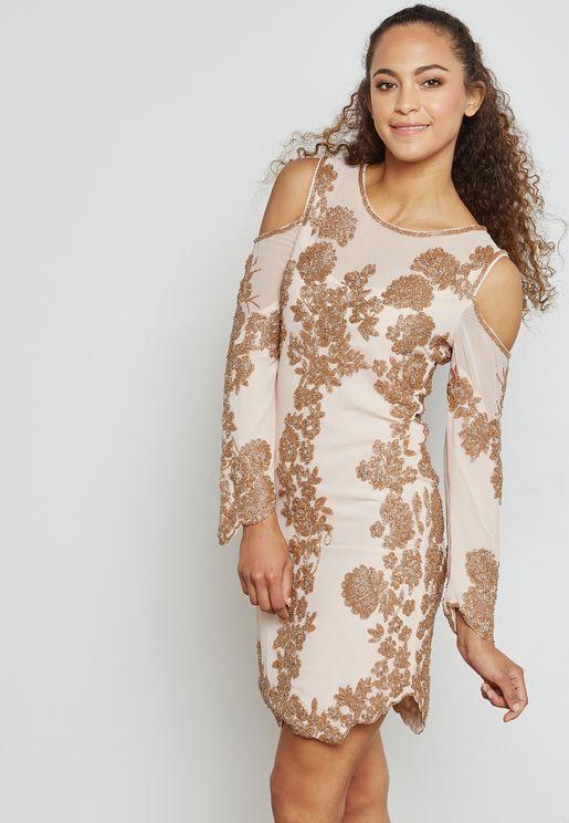 Embellished Cold Shoulder Shift Dress