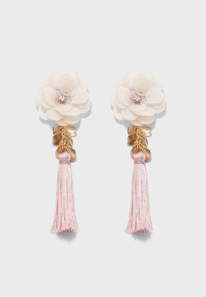 Sequin Flower Tassel Earrings