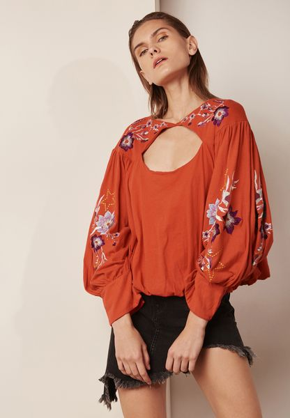 Back Cutout Embroidery Top