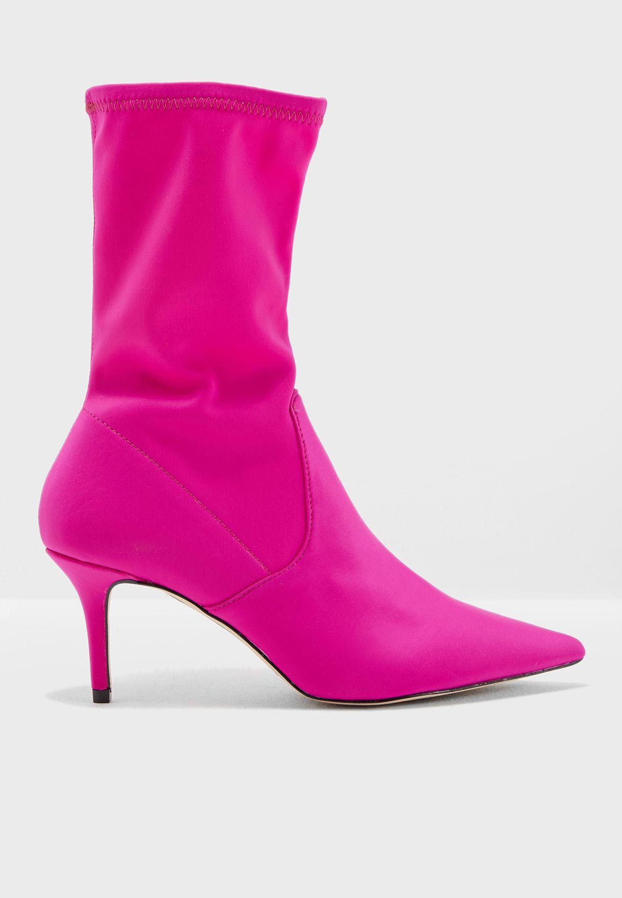 Miss Selfridge pink Desire Sock Boot