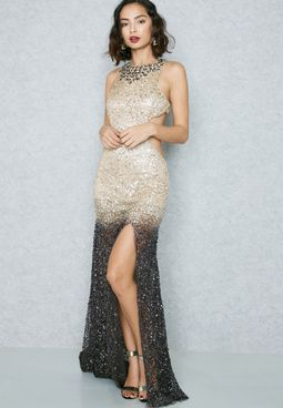 Ombray Sequin Cut-Out Maxi Dress