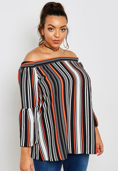 Striped Flute Sleeve Bardot Top