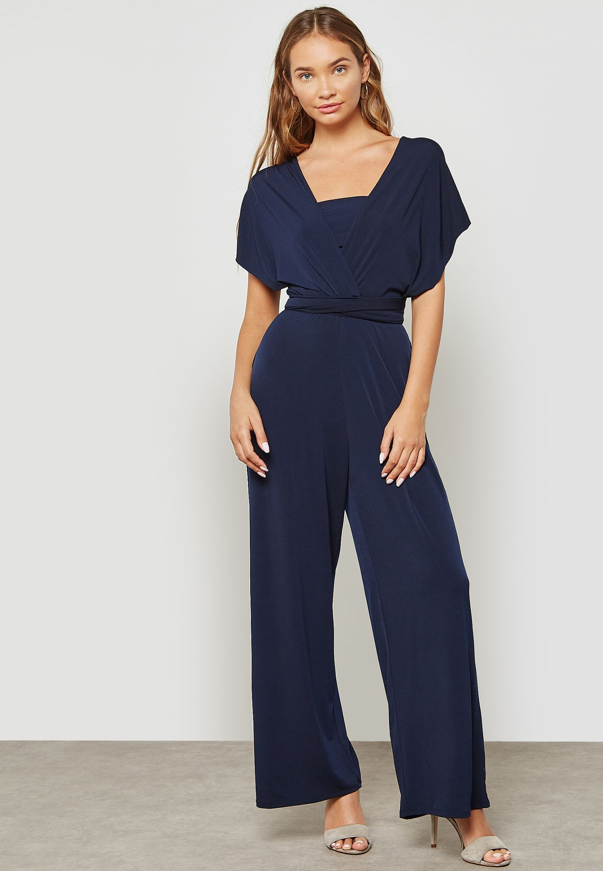 623c4aa4889 Shop Dorothy Perkins navy Ruched Waist Jumpsuit 7571323 for Women in ...