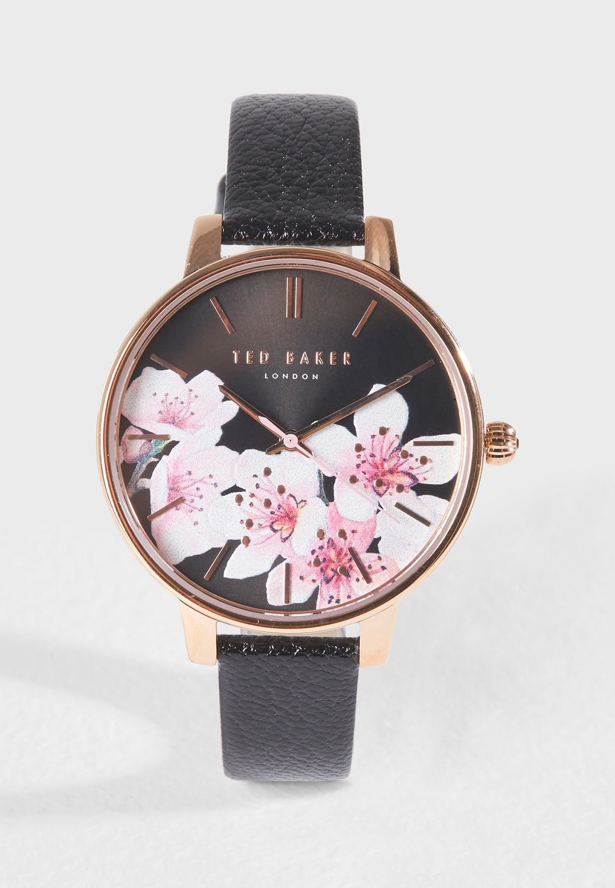 1c1b26f98 Shop Ted baker black Kate Peach Blossom Analog Watch TE50272003 for ...