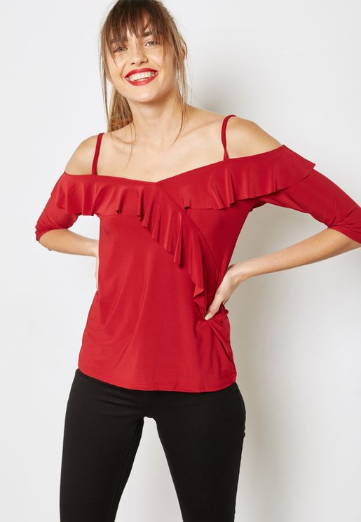 Ruffle Detail Cold Shoulder Top