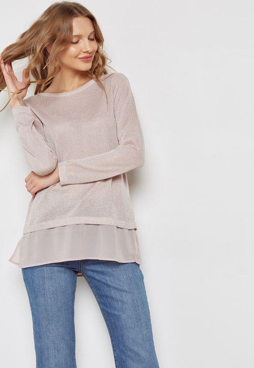 Back Split Shimmer Sweater