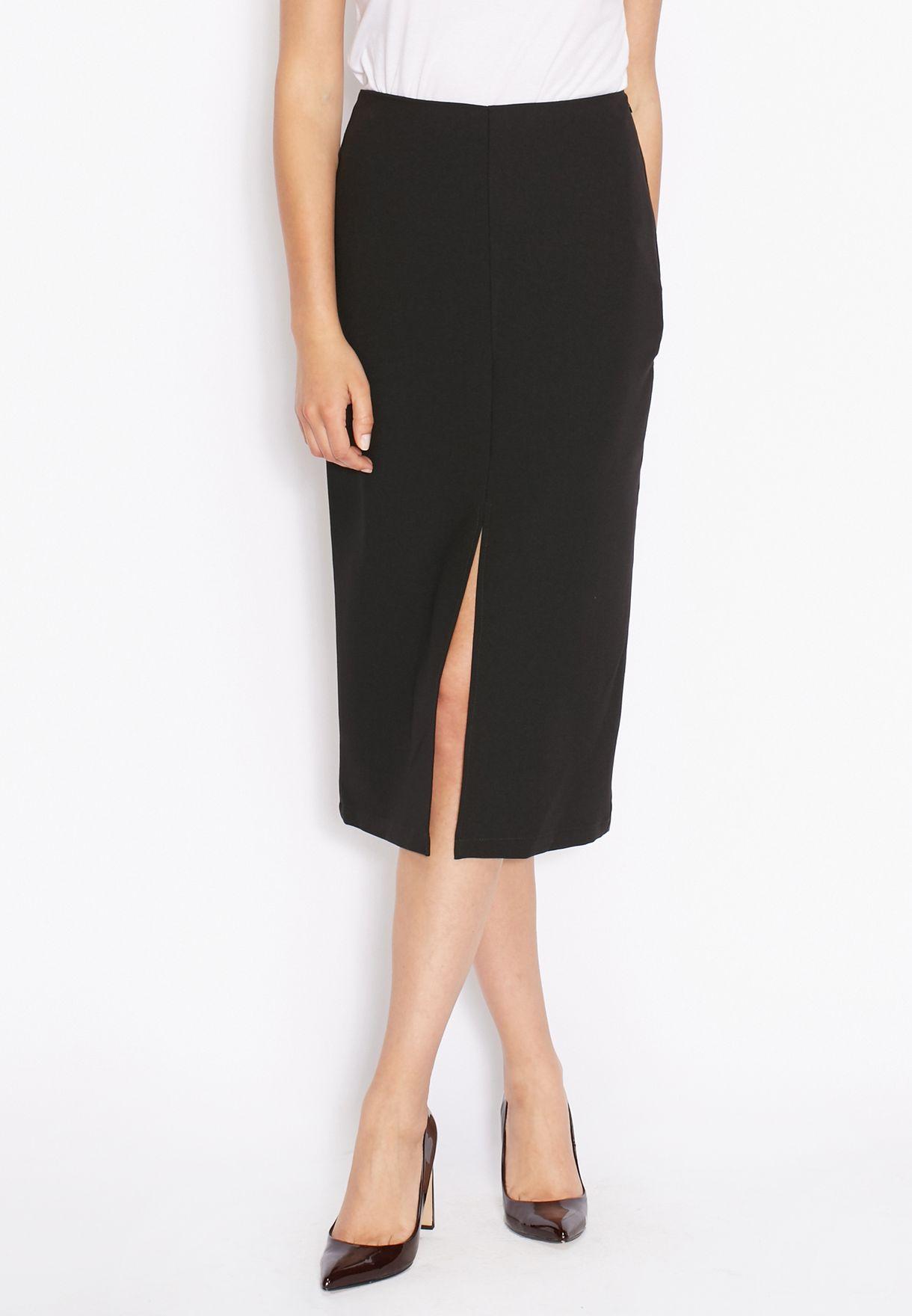 c64e758ad Shop Dorothy Perkins black Front Split Column Skirt 14729110 for ...