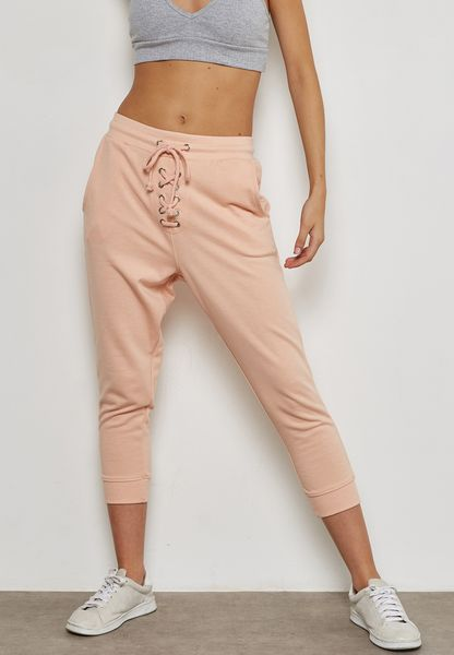 Cropped Lace Up Sweatpants