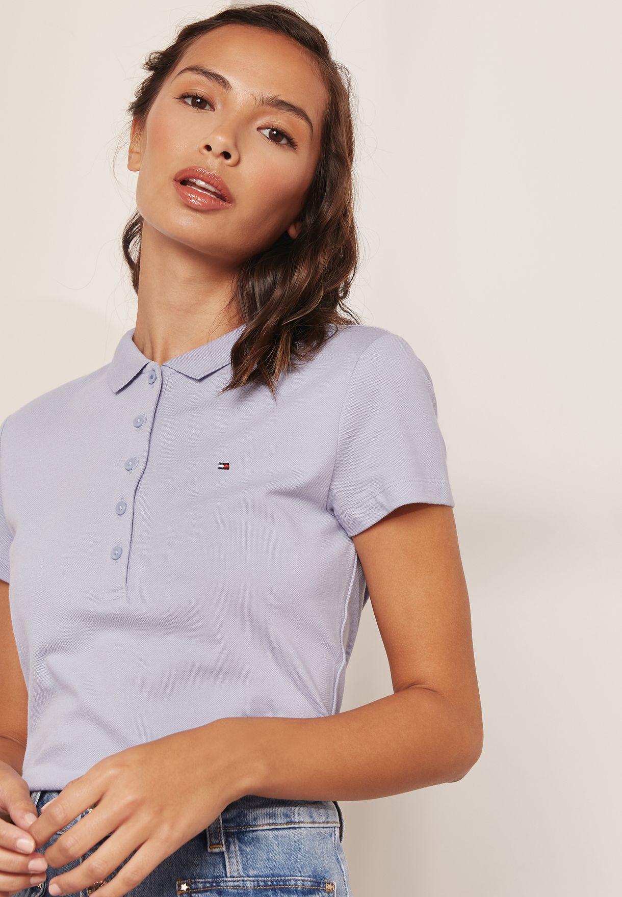 068e5c71 Shop Tommy Hilfiger grey Polo T-Shirt 1M87650126 for Women in Qatar ...