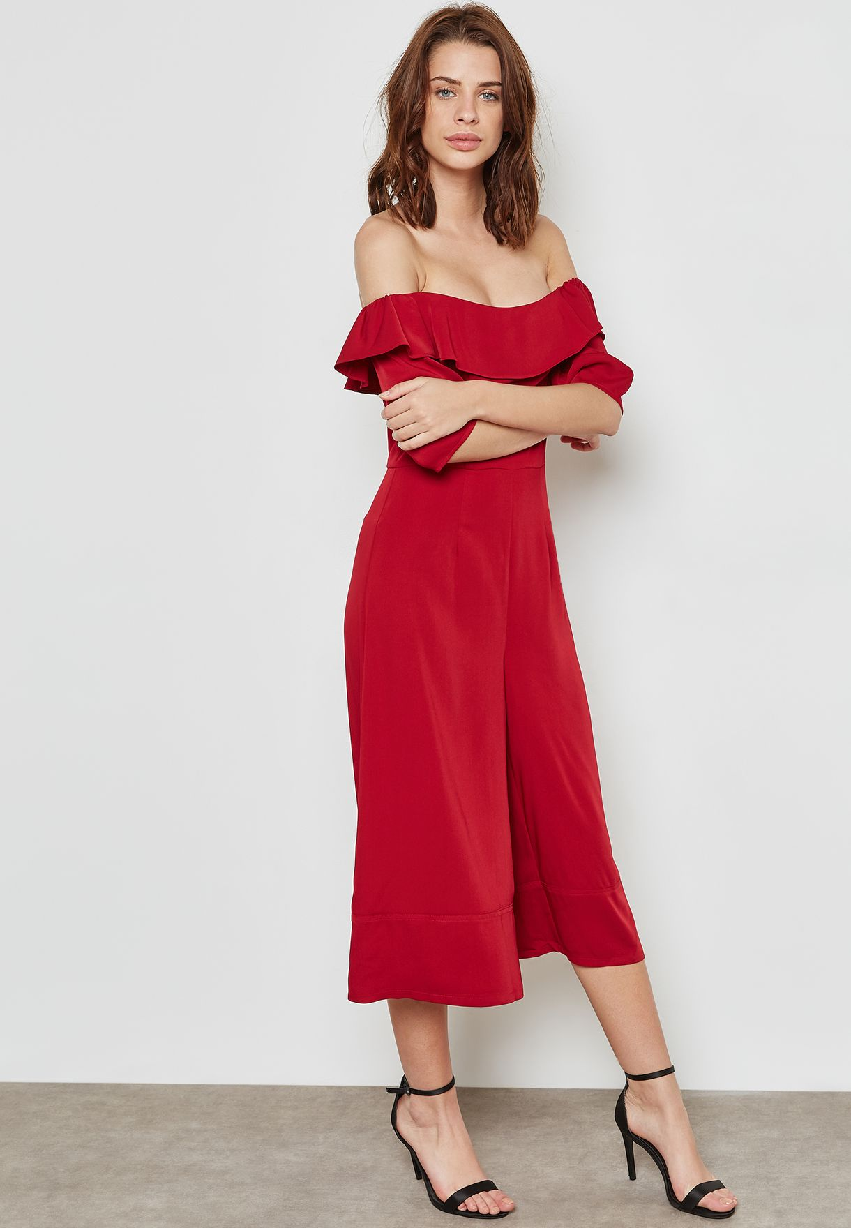 9b08a487ada Shop Ginger red Ruffle Bardot Culotte Jumpsuit AT176009 for Women in ...