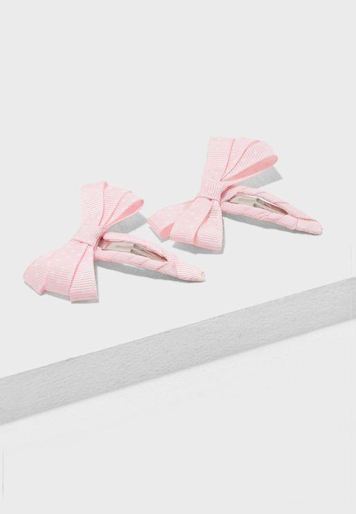 Kids 2 Pack Bow Kasandra Hair Clips