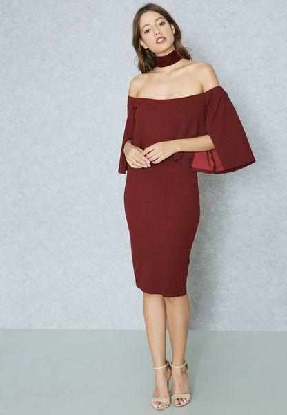 Overlay Slit Sleeve Bardot Dress