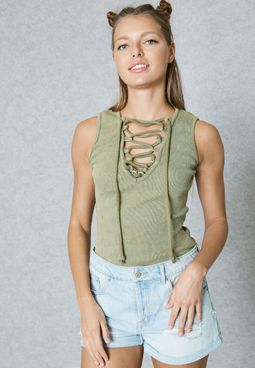 Lace Up Ribbed Body