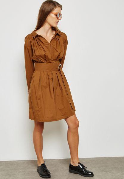 Puffed Sleeve Belted Shirt Dress