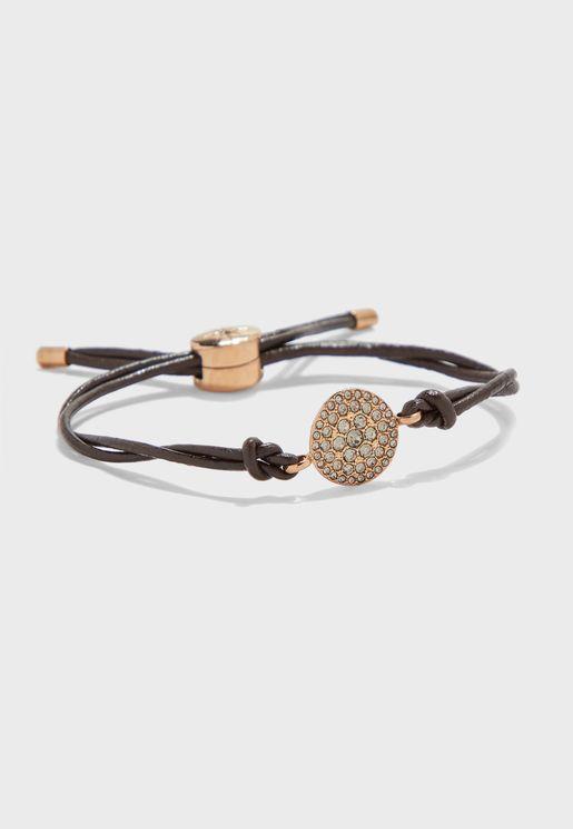 Stone Detail Leather Bracelet