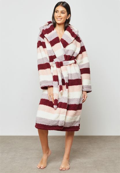 Belted Striped Robe
