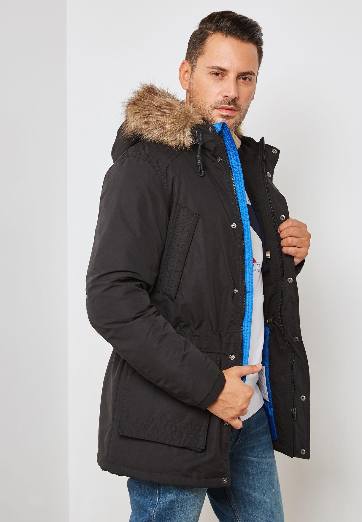 59b10ac722bf46 Shop Jack Jones black Latte Parka Jacket 12138336 for Men in Qatar ...