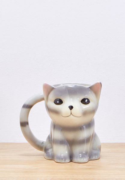 Sitting Grey Cat Novelty Shaped Mug
