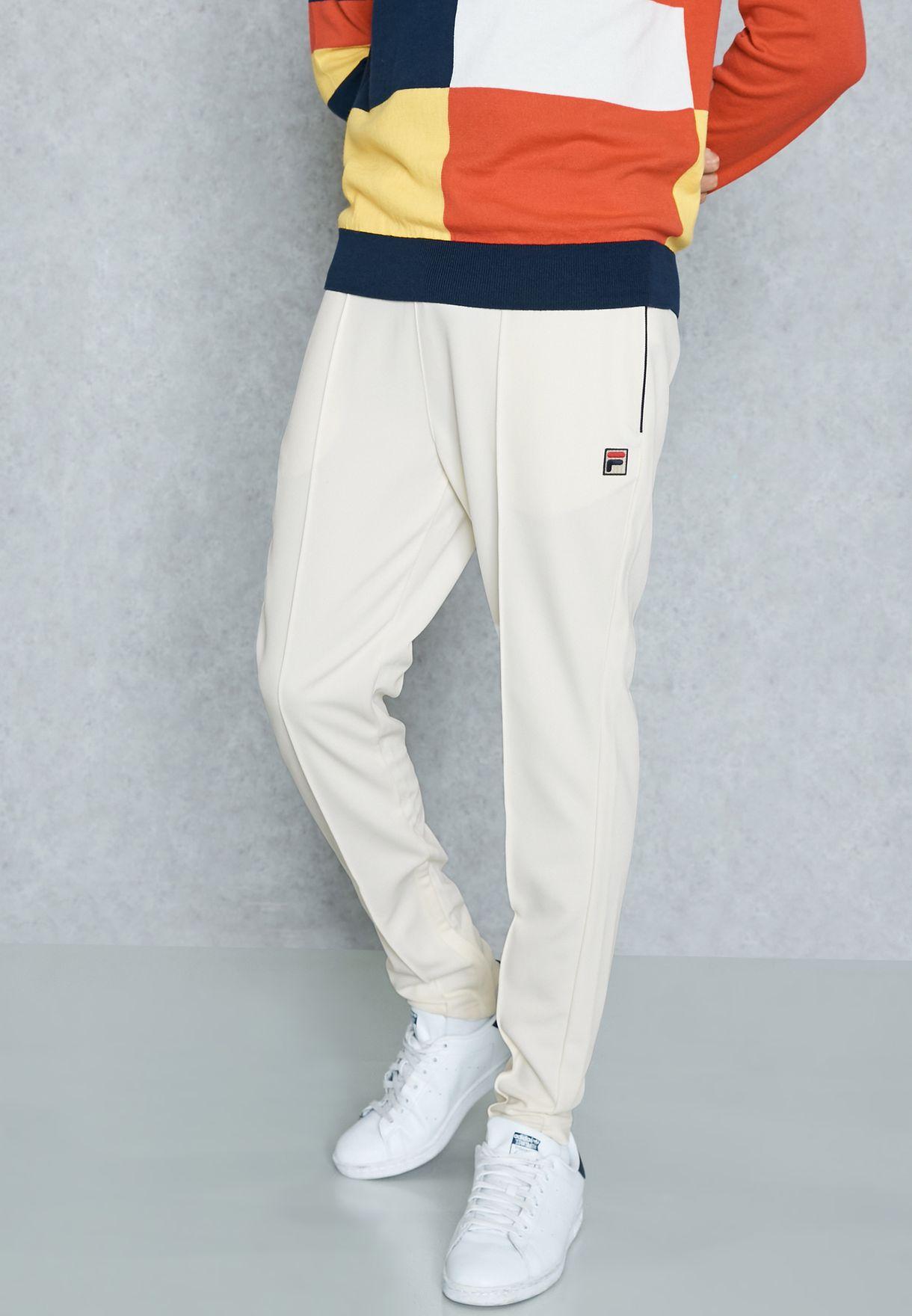 0075cf30ae37 Shop Fila white Molveno Pintuck Slim Track Pants SS17VGM010 for Men ...