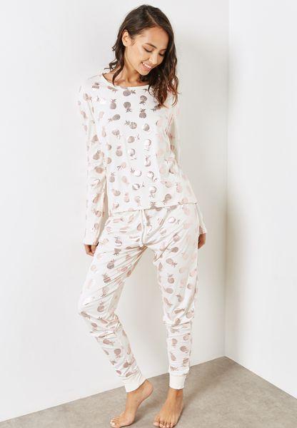Gold Pineapple Printed Pyjama Set