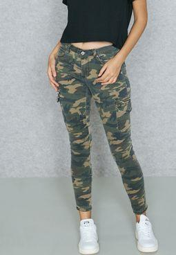 Camo 6 Pocket Skinny Jeans