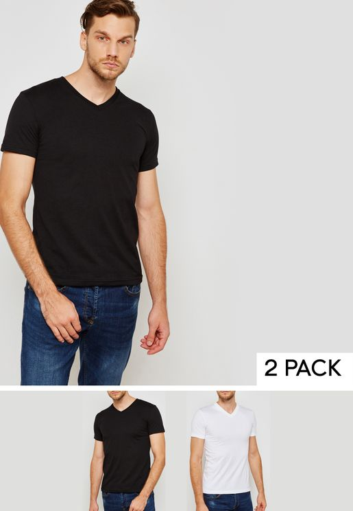2  Pack Basic V  Neck T-Shirts