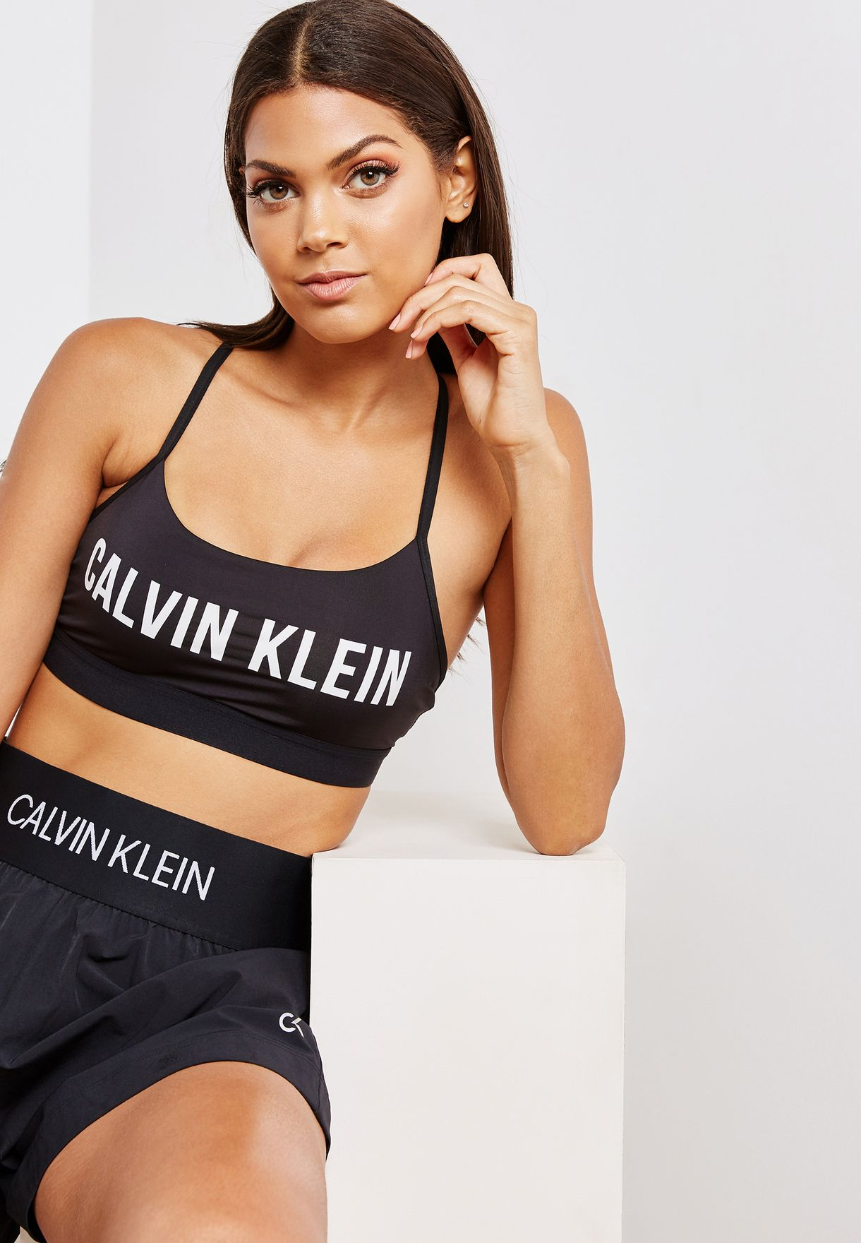 24b94896bfc2c Shop Calvin Klein Performance black Adjustable Logo Sports Bra ...