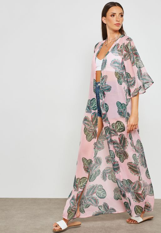 Leaf Print Kimono Beach Cover Up