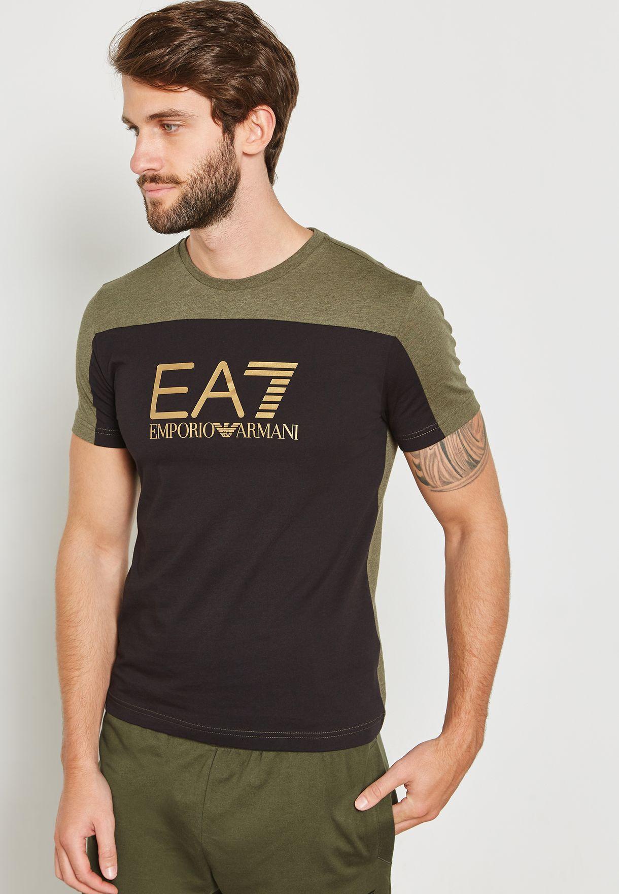 09723c14bbef Shop Ea7 Emporio Armani multicolor Train Tritonal Crew Neck T-Shirt ...
