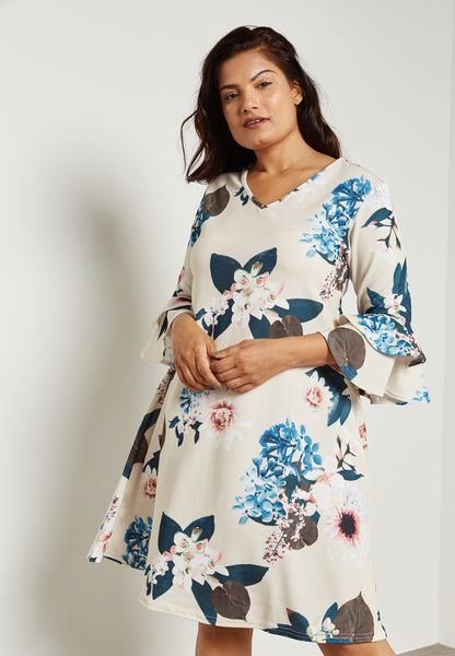 Floral Print Flute Sleeve Swing Dress