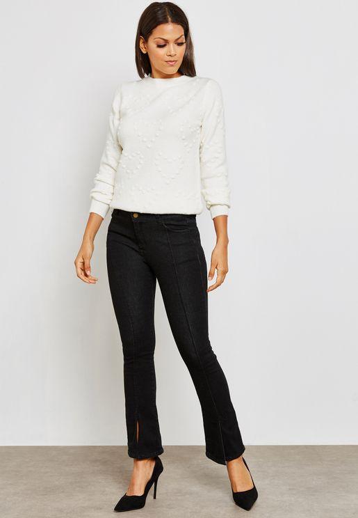 Split Hem Flared Jeans
