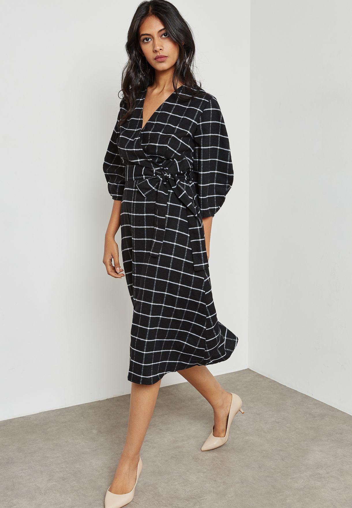 Checked Puffed Sleeve Self Tie Dress