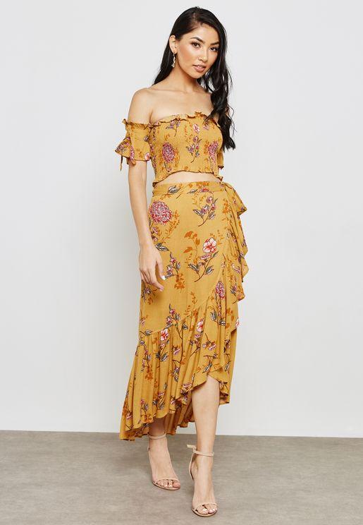 Bardot Floral Print Crop Top and Midi Skirt Co- or