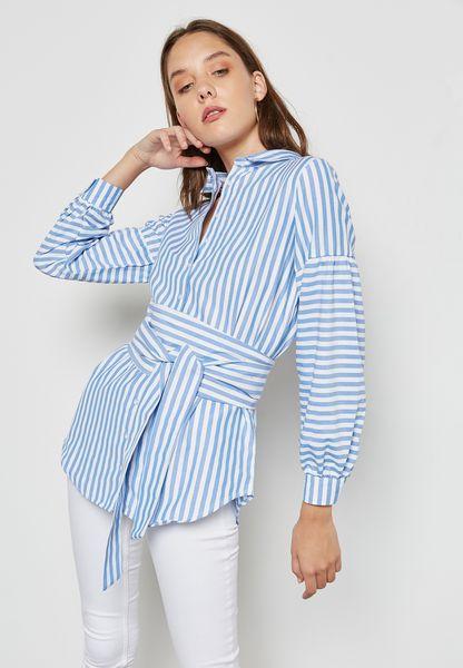Striped Puffed Sleeve Self Tie Shirt
