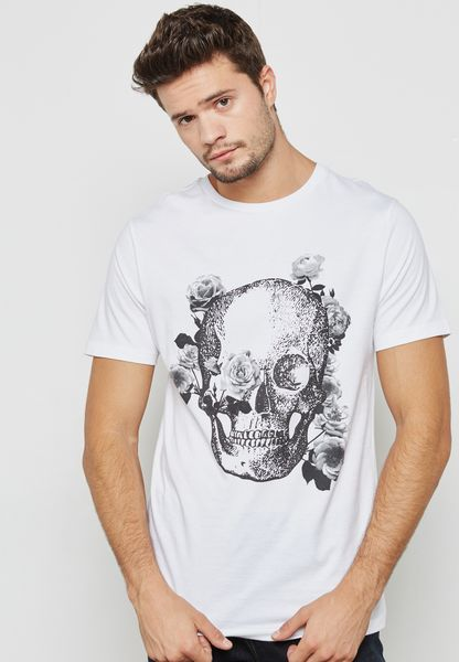 Mono Skull  Print Crew Neck T-Shirt