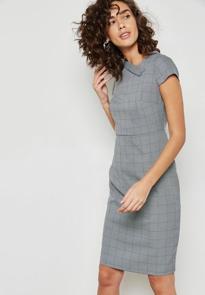 Fold Neck Checked Pencil Dress