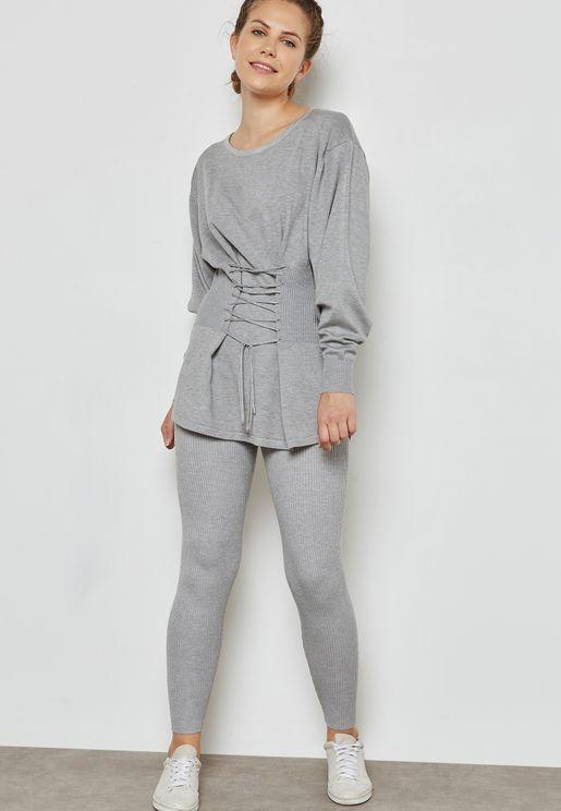 Corset Waist Pants Set