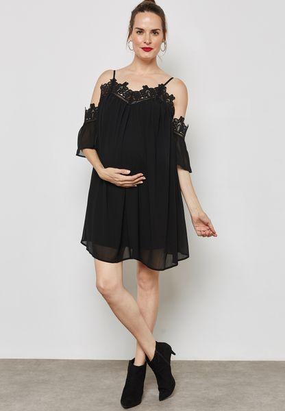 Crochet Detail Cold Shoulder Dress