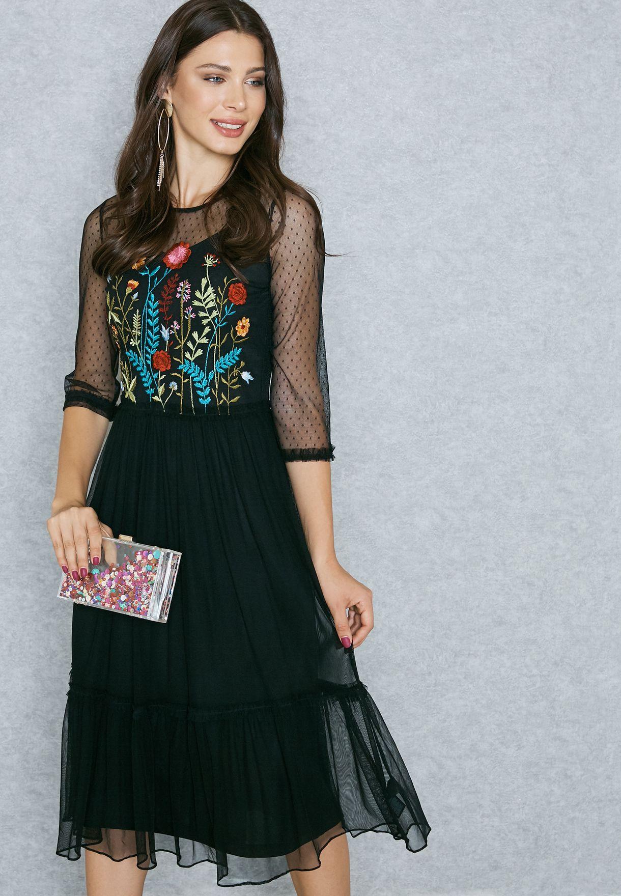 c644cf3181 Shop Dorothy Perkins black Sheer Detail Embroidered Skater Dress ...
