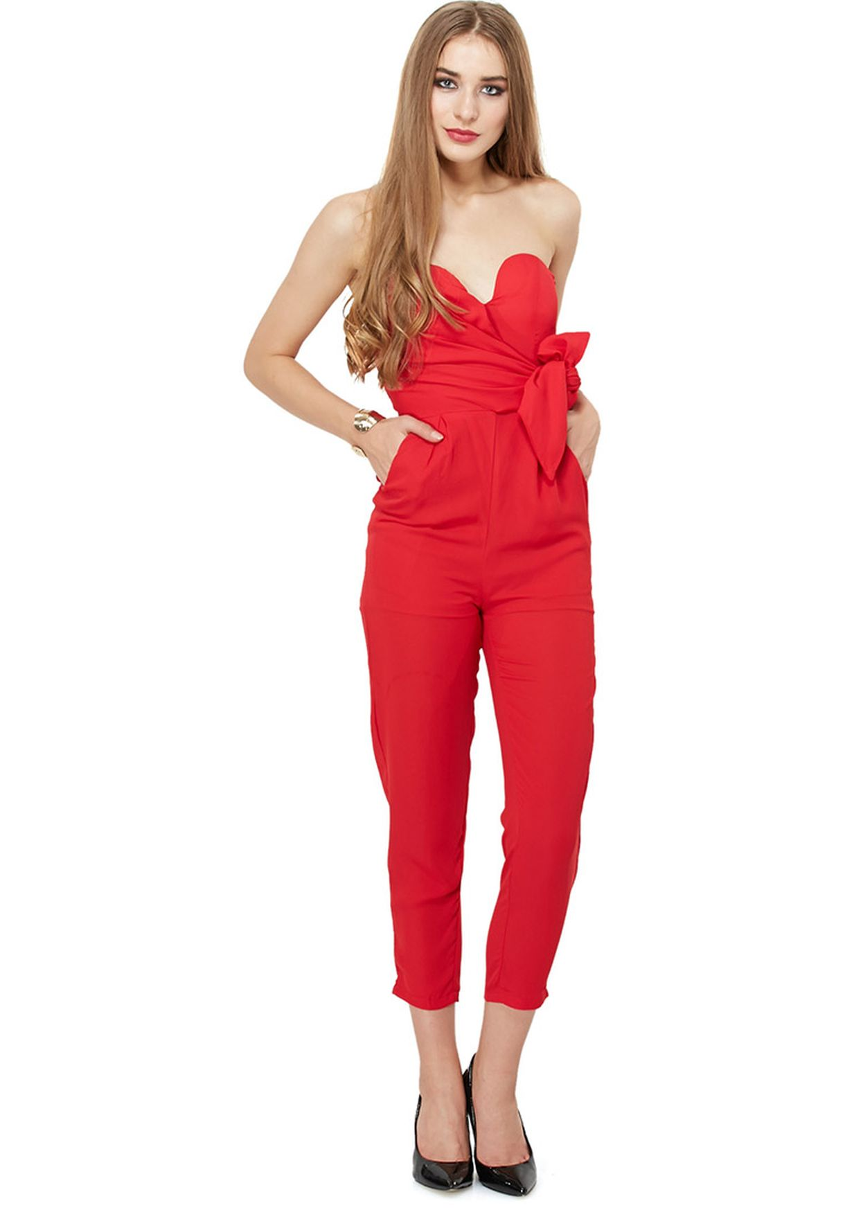 0a53c73bf21b Shop Velvet fox red Tied Up Bandeau Jumpsuit for Women in Qatar ...