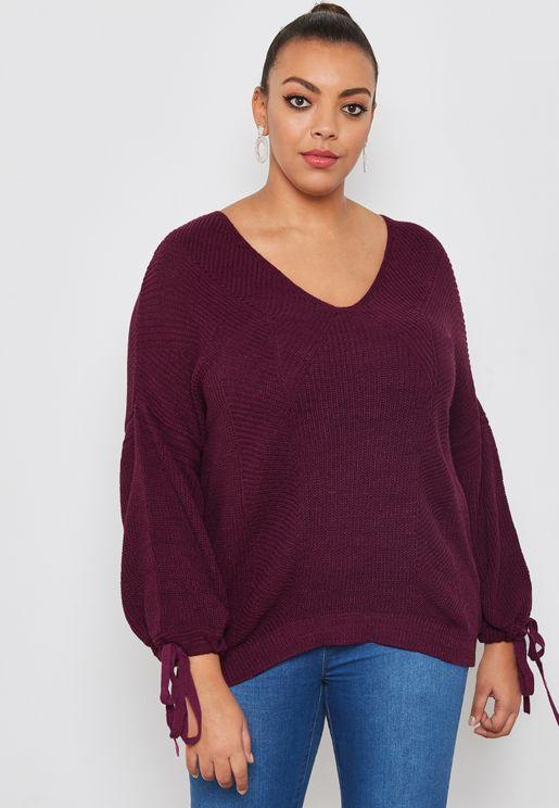 Tie Sleeve V-Neck Sweater