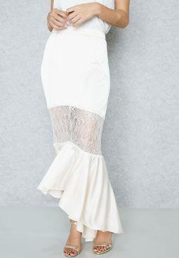Crop Top Fishtail Skirt Set