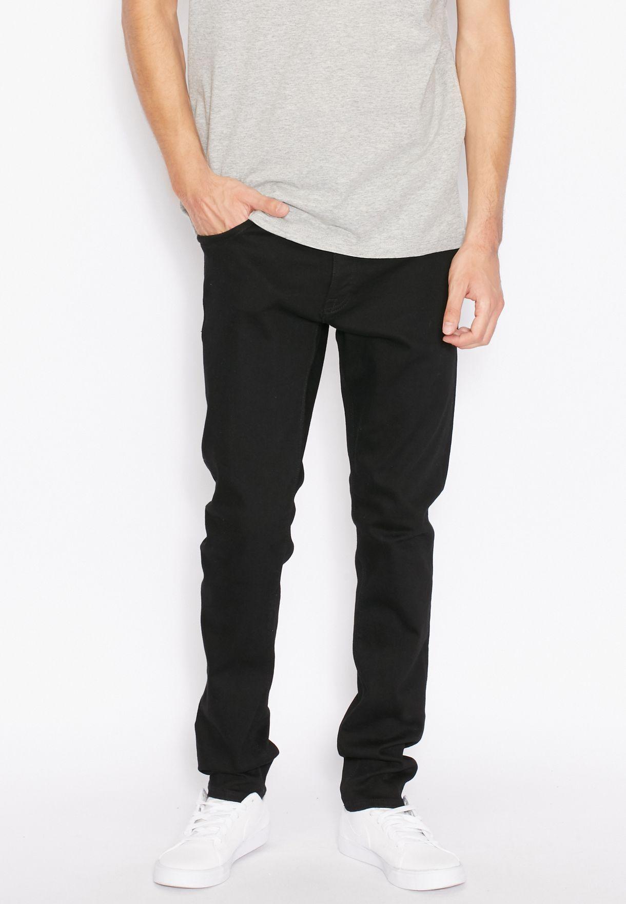 0ff78dc351 Shop Jack Jones black Glenn Skinny Fit Dark Wash Jeans for Men in ...
