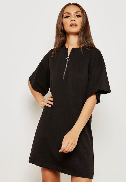 Zip Front Oversized T-Shirt Dress