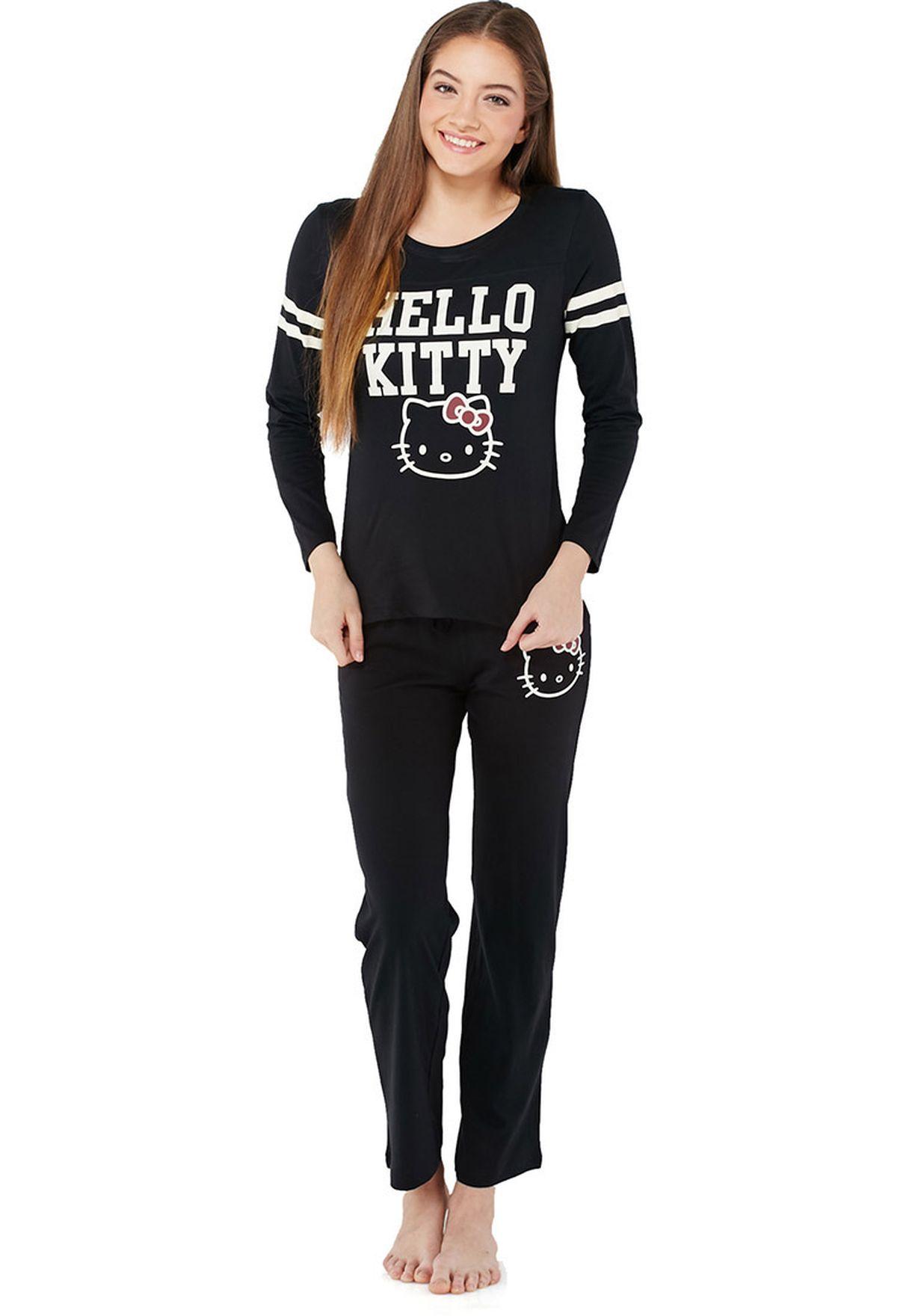 483f5aebe Shop Hello Kitty black Hello Kitty Pyjama Set for Women in Saudi ...
