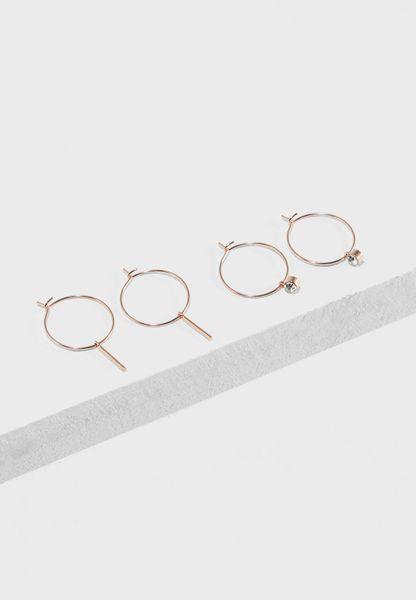 2 Pack Fine Bar Hoop Earrings